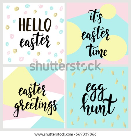 Set happy easter gift cards calligraphy stock vector 569339866 set with happy easter gift cards with calligraphy handwritten lettering hand drawn design elements negle Gallery