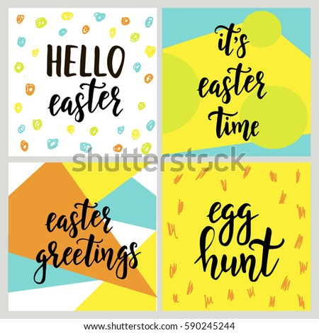 Set happy easter gift cards calligraphy stock vector 590245244 set with happy easter gift cards with calligraphy handwritten lettering hand drawn design elements negle Choice Image