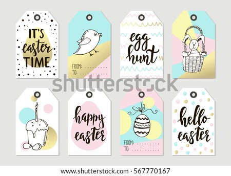 Easter tag stock images royalty free images vectors shutterstock set with happy easter gift tags and cards with calligraphy handwritten lettering hand drawn negle Choice Image