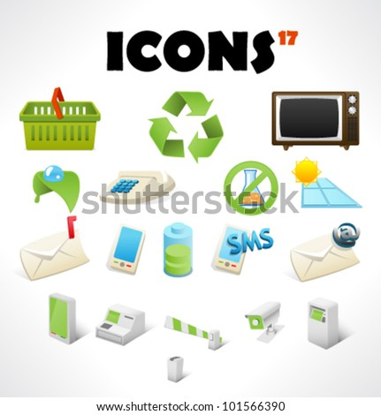 Set with 17 icons - stock vector