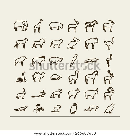 Set with icons - animals and birds. Desert, savanna, mountains. A vector. - stock vector