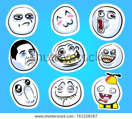 stock vector set with internet memes on the blue background with crazy happy faces 761228587 meme stock images, royalty free images & vectors shutterstock