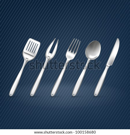 Set with kitchen utensil - stock vector