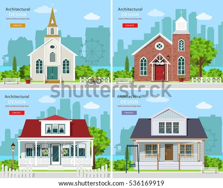 set modern church buildings private houses stock vector royalty