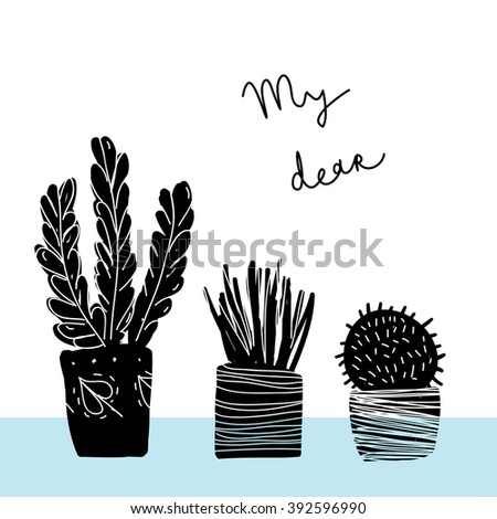 Set with plants. Greeting postcard with plants. - stock vector