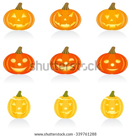 Set with pumpkins for Halloween - stock vector