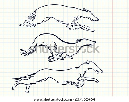 Set with running Russian Borzoi Dogs, working dogs - stock vector
