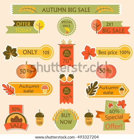 Set with sale labels. Autumn elements event. Best offer. Vector illustration