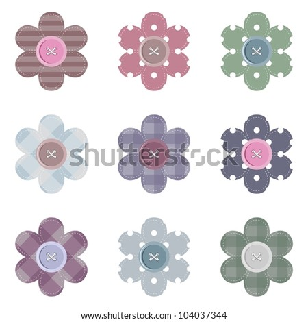 set with scrapbook flowers - stock vector