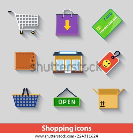 Set with shopping icons in flat geometrical style - stock vector