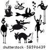 Set with silhouettes of cute characters - stock vector