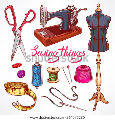 Set with sketch tailoring equipment. mannequin, sewing, sewing machine. hand-drawn illustration - stock vector