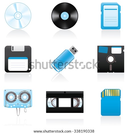 Set with storage media icons - stock vector