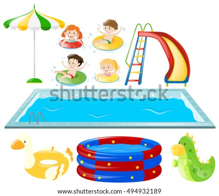 kids swimming clipart. set with swimming pool and kids illustration clipart