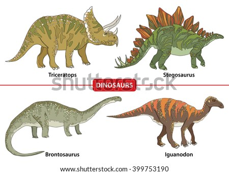 Set with Triceratops, Stegosaurus, Brontosaurus and Iguanodon isolated on white background. Series of prehistoric dinosaurs. Fossil animals and reptiles in contour style. - stock vector