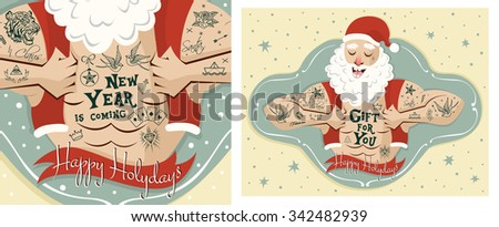 Set two greeting cards santa claus stock vector royalty free set with two greeting cards santa claus man with old school tattoo vector m4hsunfo