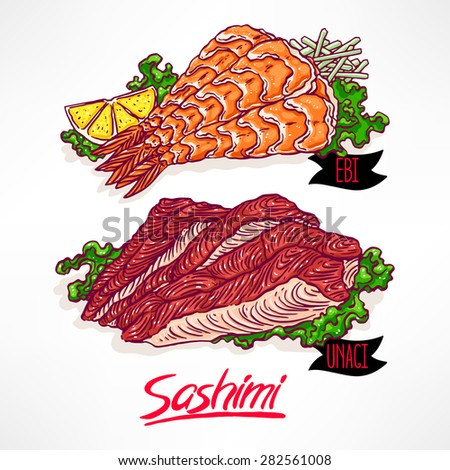 Set with two kinds of sashimi. shrimp and eel. hand-drawn illustration