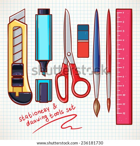 Set with various stationery. stationery knife, scissors, marker - stock vector
