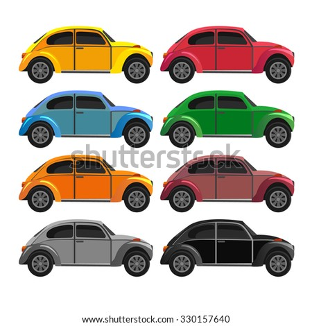 set with vintage cars, vector flat style - stock vector