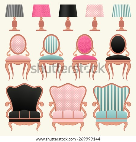 Set with vintage furniture. - stock vector