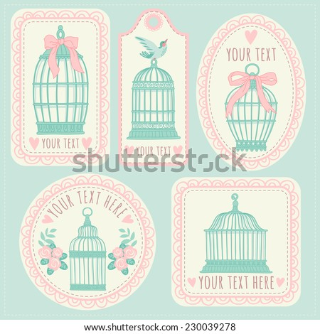 Set with vintage labels and postcards. Vintage bird cages. - stock vector