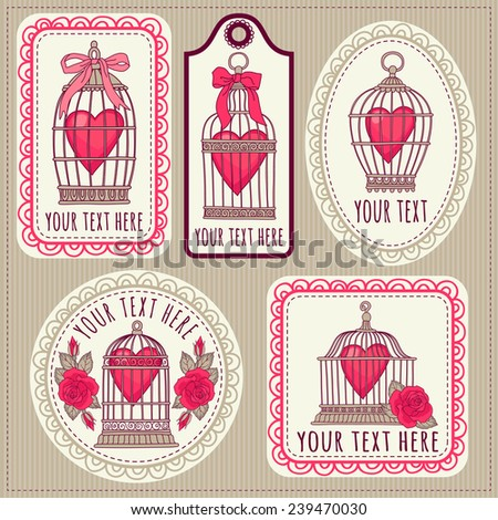 Set with vintage labels and postcards. Vintage bird cages. Valentine'S Day. - stock vector