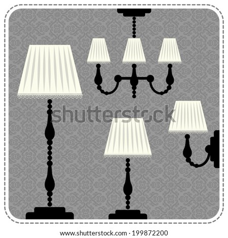 Set with vintage lamps