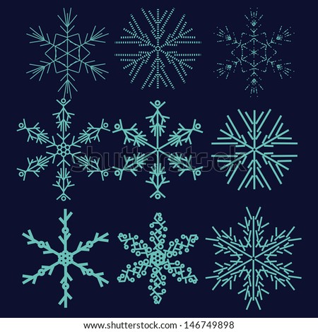 set with winter snowflake on dark background - stock vector