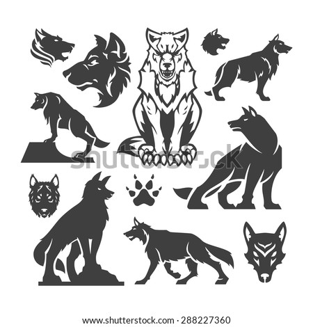 Set Wolfs vector illustrations. - stock vector