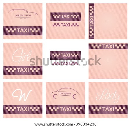 SET Woman business cards taxi - vector 10eps, women's pink taxi. - stock vector