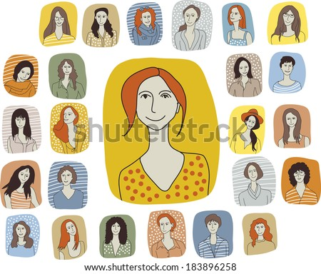 Set woman characters Big group of unrecognizable woman portraits. Color vector illustration. Every icon is isolated on white background - stock vector