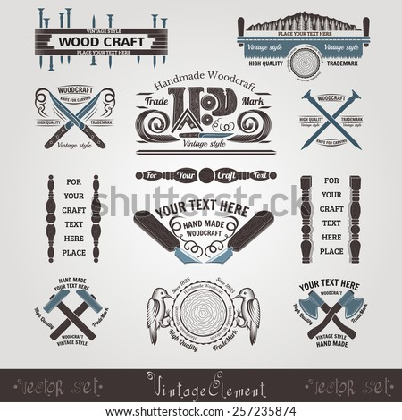 set woodcraft and carpenter label style hummer saw axe knife knife for carving nail - stock vector
