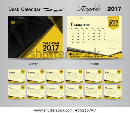 Set Yellow Desk Calendar 2017 Template Stock Vector 466215749