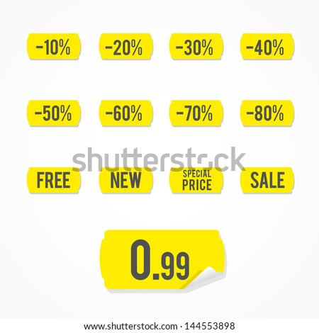 Set: yellow sale labels - stock vector