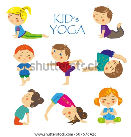 Set Yoga Asanas For Kids Collection Of Pose Meditation Fitness Activity Healthy Gymnastics