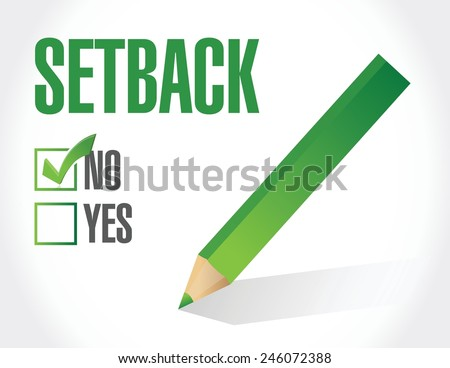 setback under review. magnify glass illustration design over a white background