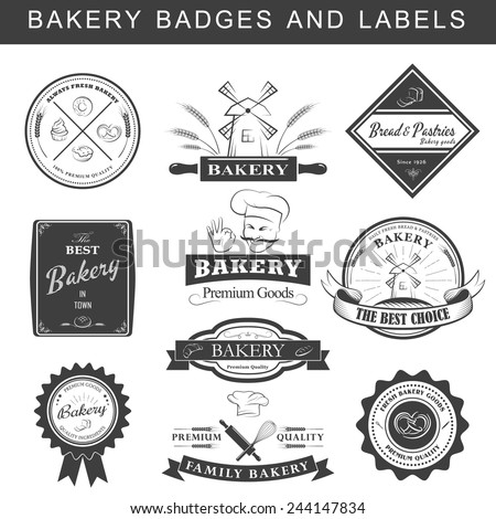 Setof vintage retro bakery logo badges and labels. Vector illustration. - stock vector