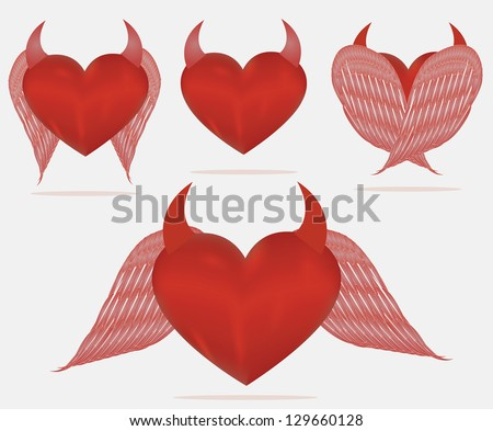 Sets Devil heart. Fateful love concept. Red   Isolated on white