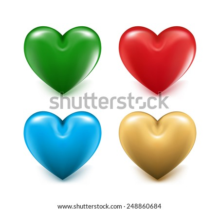 Sets of 3D Colorful Mesh Hearts. Editable Vector Illustration - stock vector