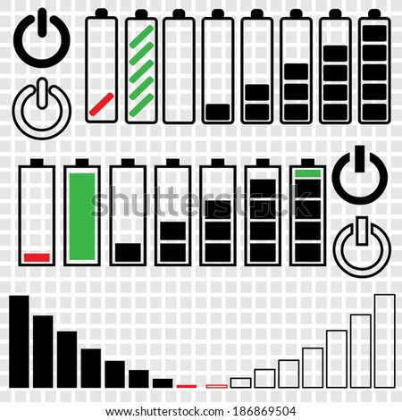 Sets of empty and charged phone batteries in rounded and square styles,  - stock vector