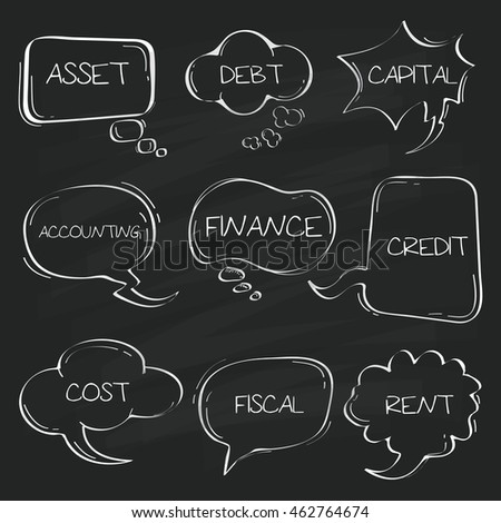 Sets of Hand drawn accounting speech bubble doodle on chalkboard.