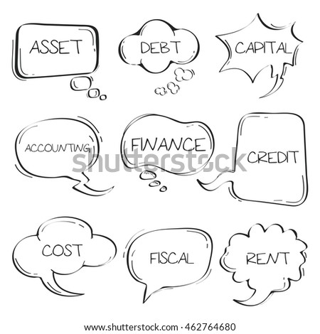 Sets of Hand drawn accounting speech bubble doodle on white background.