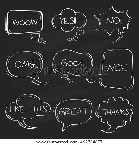 Sets of Hand drawn comic speech bubble doodle on chalkboard.