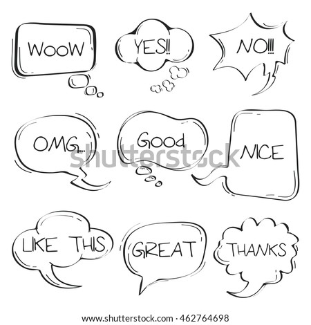 Sets of Hand drawn comic speech bubble doodle on white background.