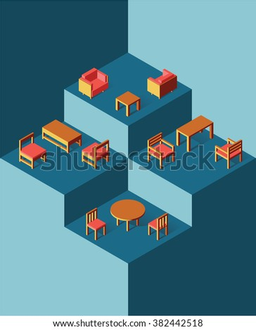Sets of metallic chairs and tables in coral color in the blue hexagon-based space