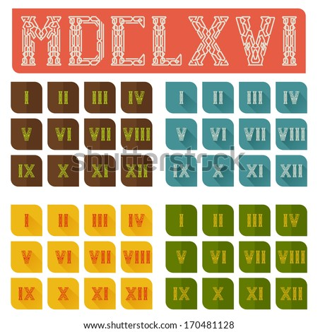 sets of Roman numerals from one to twelve on colored substrates