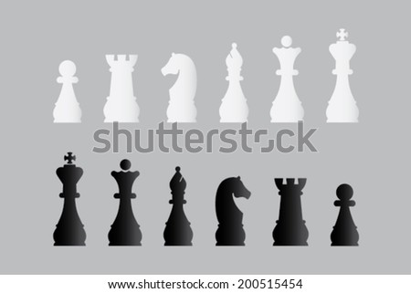 Sets of silhouette Chess icons - stock vector