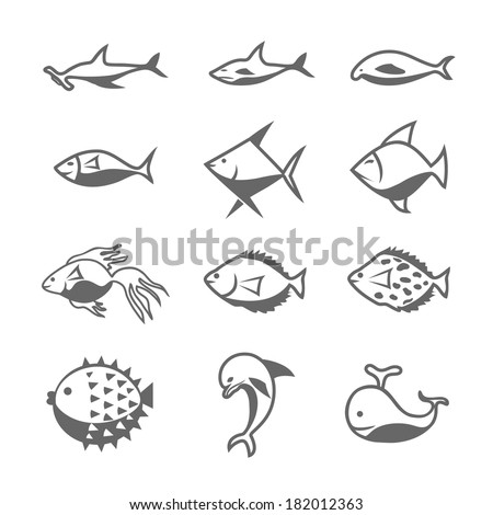Sets of silhouette Fishes . create by vector