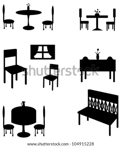 Sets of silhouette furniture, create by vector. - stock vector