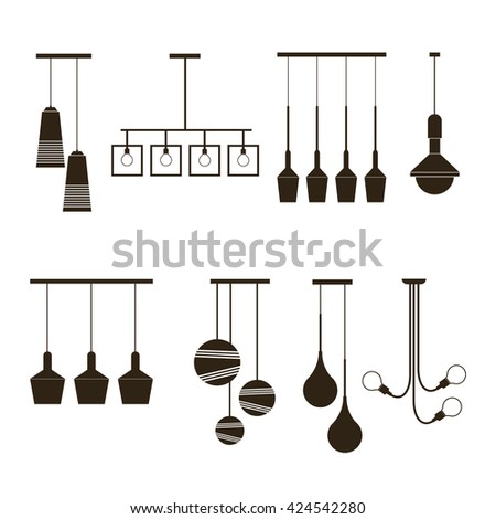 Sets of silhouette luminaires and lamp. Vector illustration